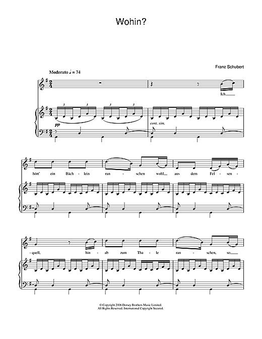 Franz Schubert Wohin sheet music notes printable PDF score