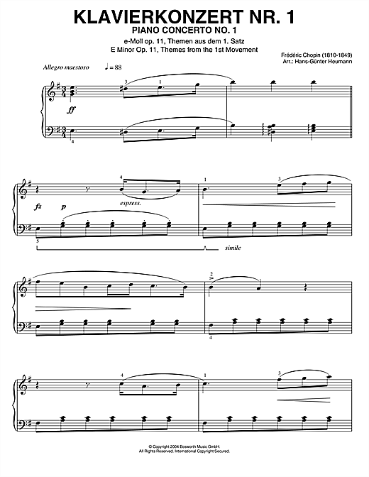 Frederic Chopin Piano Concerto No.1, Themes From The 1st Movement sheet music notes printable PDF score