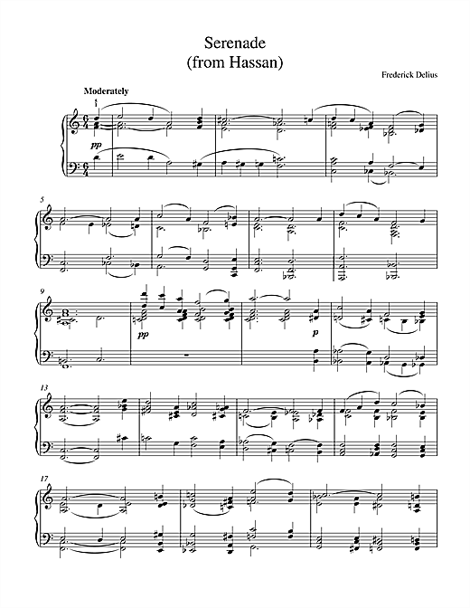 Frederick Delius Serenade From Hassan sheet music notes printable PDF score