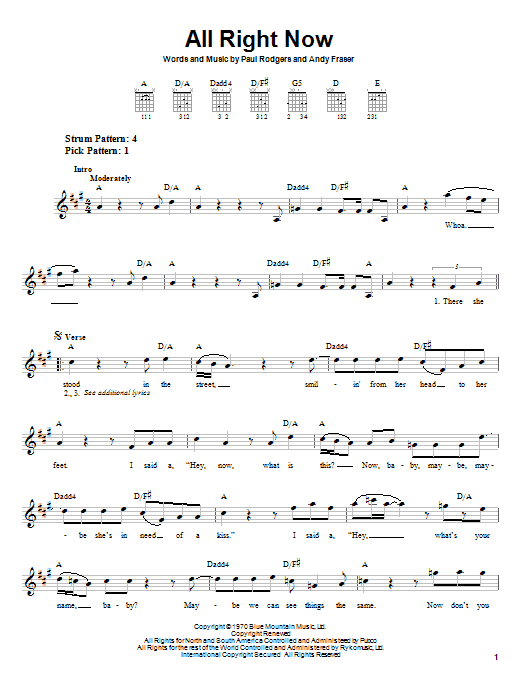 Free All Right Now sheet music notes and chords. Download Printable PDF.