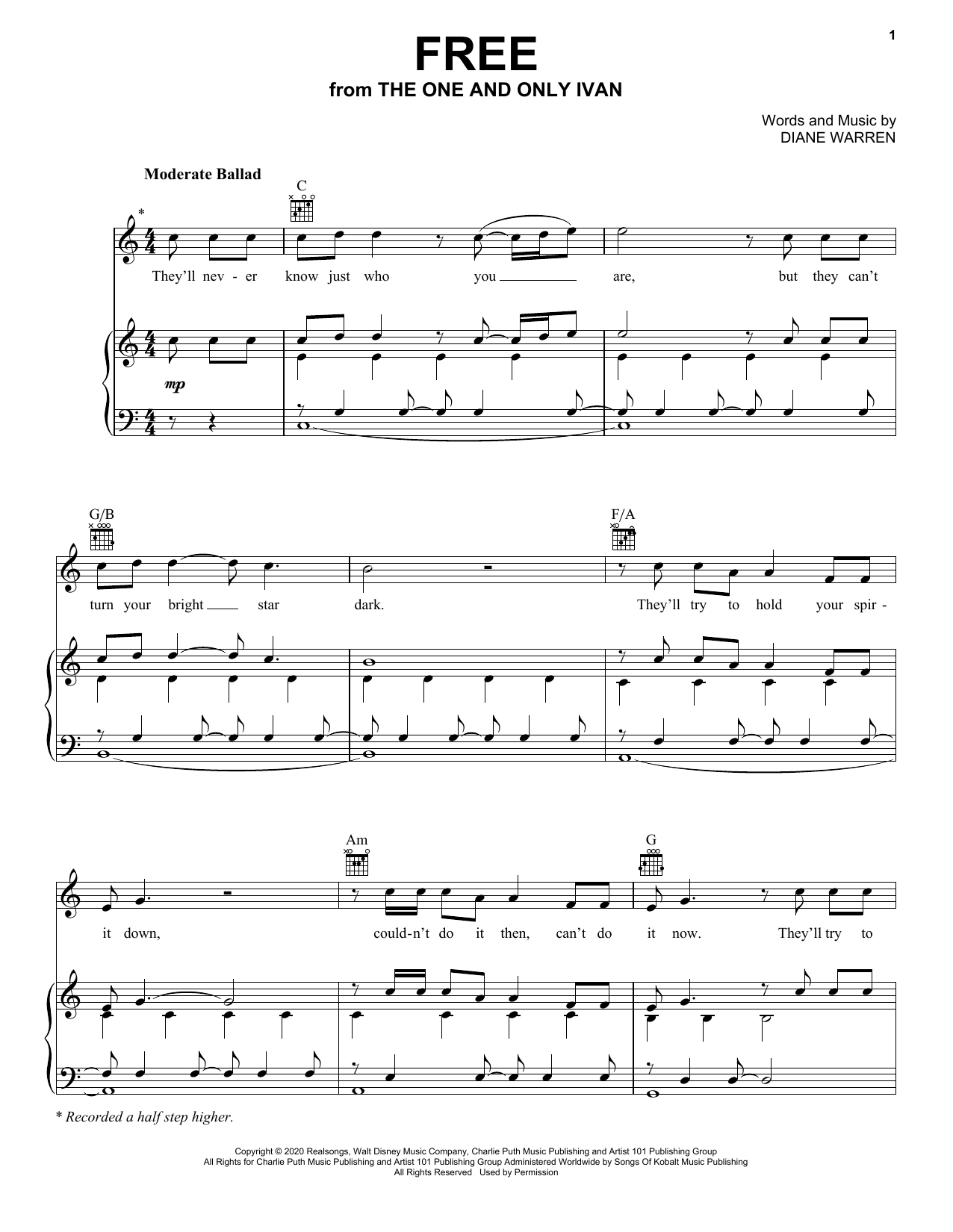 Charlie Puth Free (from Disney's The One And Only Ivan) sheet music notes printable PDF score