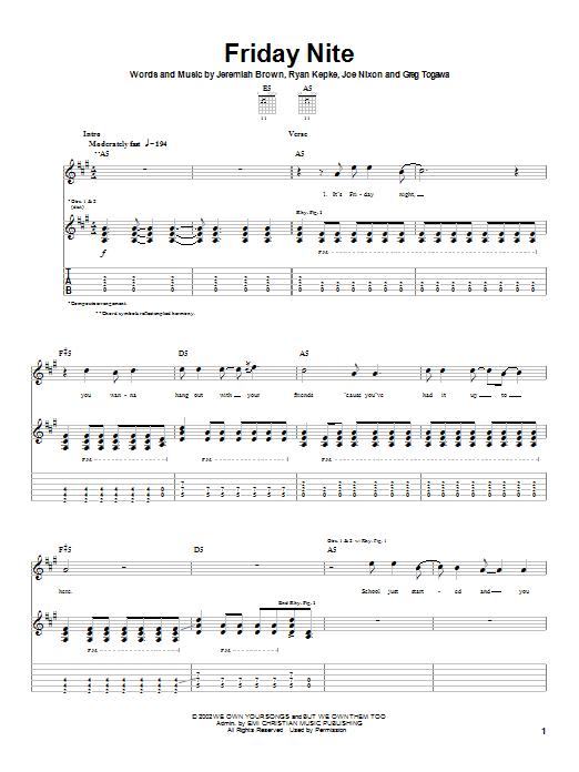 Slick Shoes Friday Nite sheet music notes printable PDF score