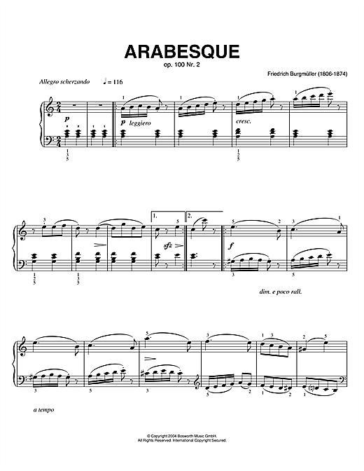 Friedrich Burgmüller Arabesque, Op.100, No.2 sheet music notes printable PDF score