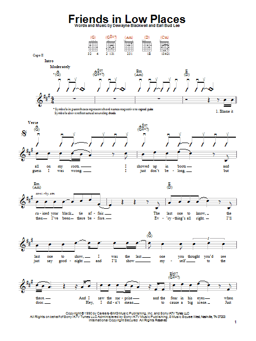 Garth Brooks Friends In Low Places sheet music notes printable PDF score