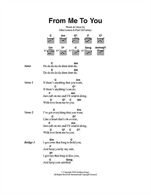 The Beatles From Me To You sheet music notes printable PDF score