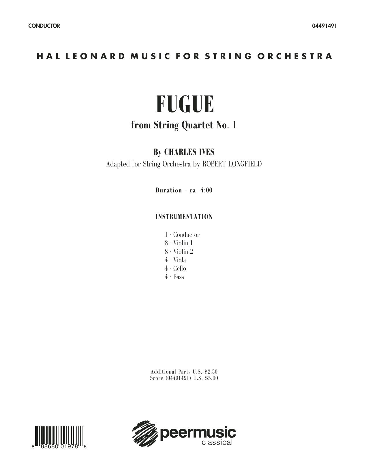 Robert Longfield Fugue from String Quartet No. 1 - Conductor Score (Full Score) sheet music notes printable PDF score