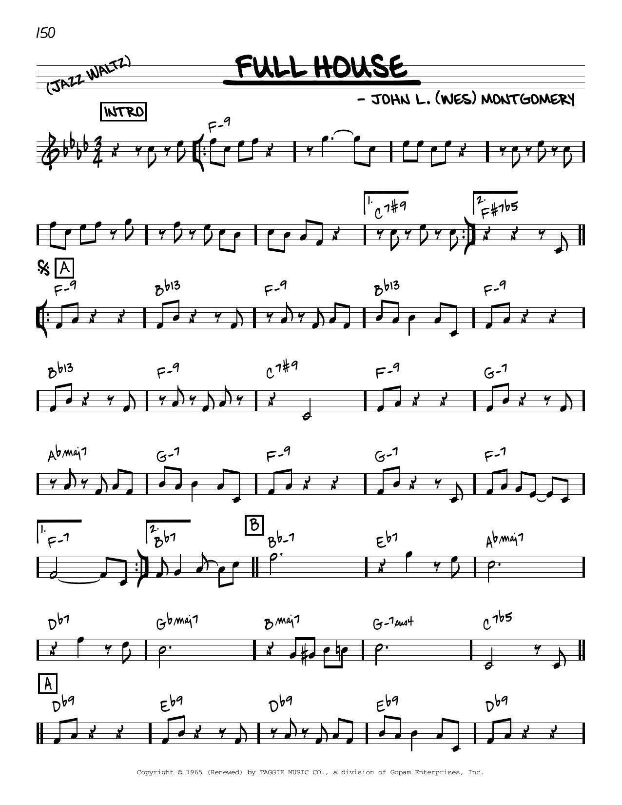 Wes Montgomery Full House [Reharmonized version] (arr. Jack Grassel) sheet music notes printable PDF score