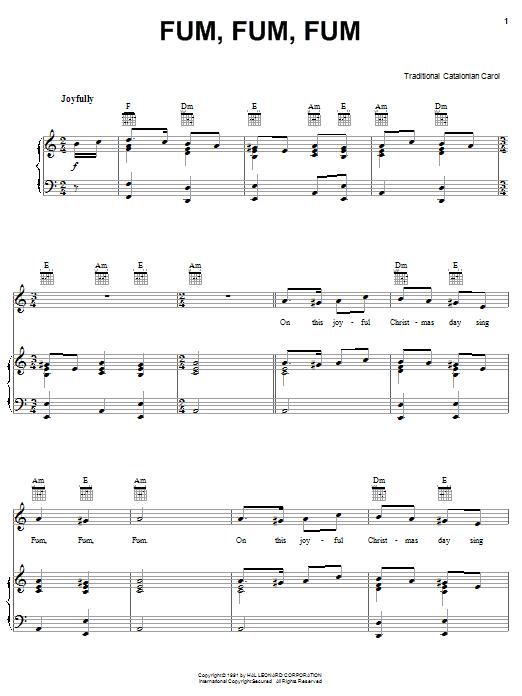 Traditional Carol Fum, Fum, Fum sheet music notes printable PDF score