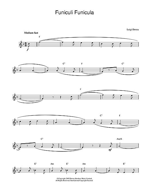 Luigi Denza Funiculi, Funicula sheet music notes printable PDF score