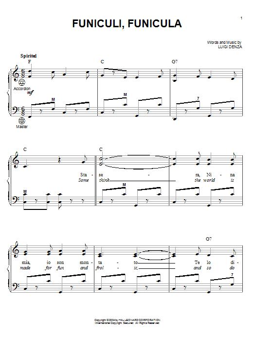 Mario Lanza Funiculi, Funicula sheet music notes printable PDF score