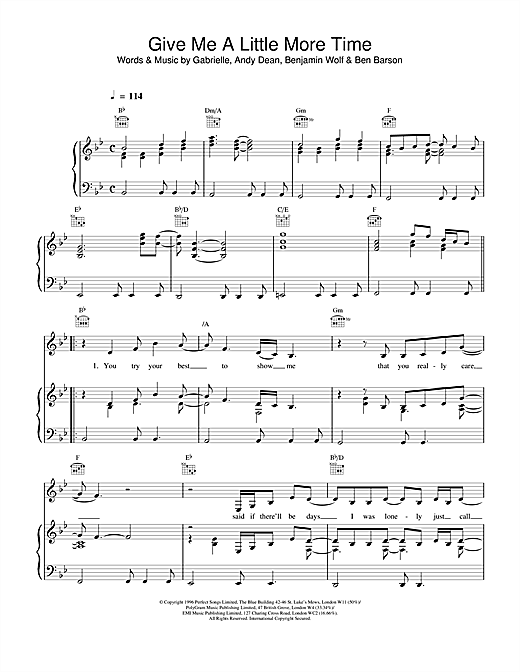 Gabrielle Give Me A Little More Time sheet music notes printable PDF score