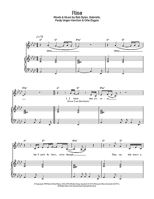 Gabrielle Rise sheet music notes and chords - download printable PDF.