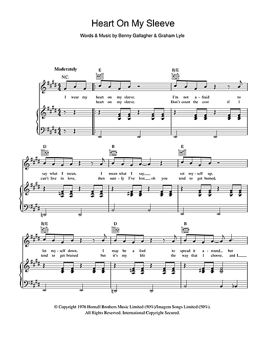 Gallagher & Lyle Heart On My Sleeve sheet music notes and chords. Download Printable PDF.