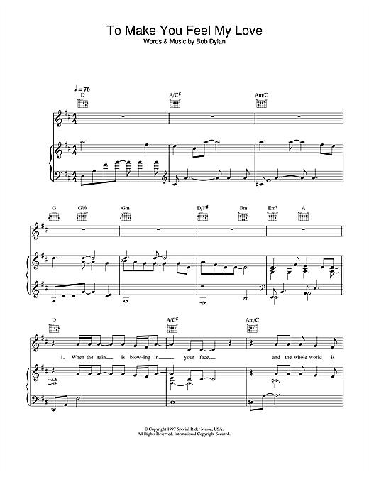 Garth Brooks To Make You Feel My Love sheet music notes printable PDF score