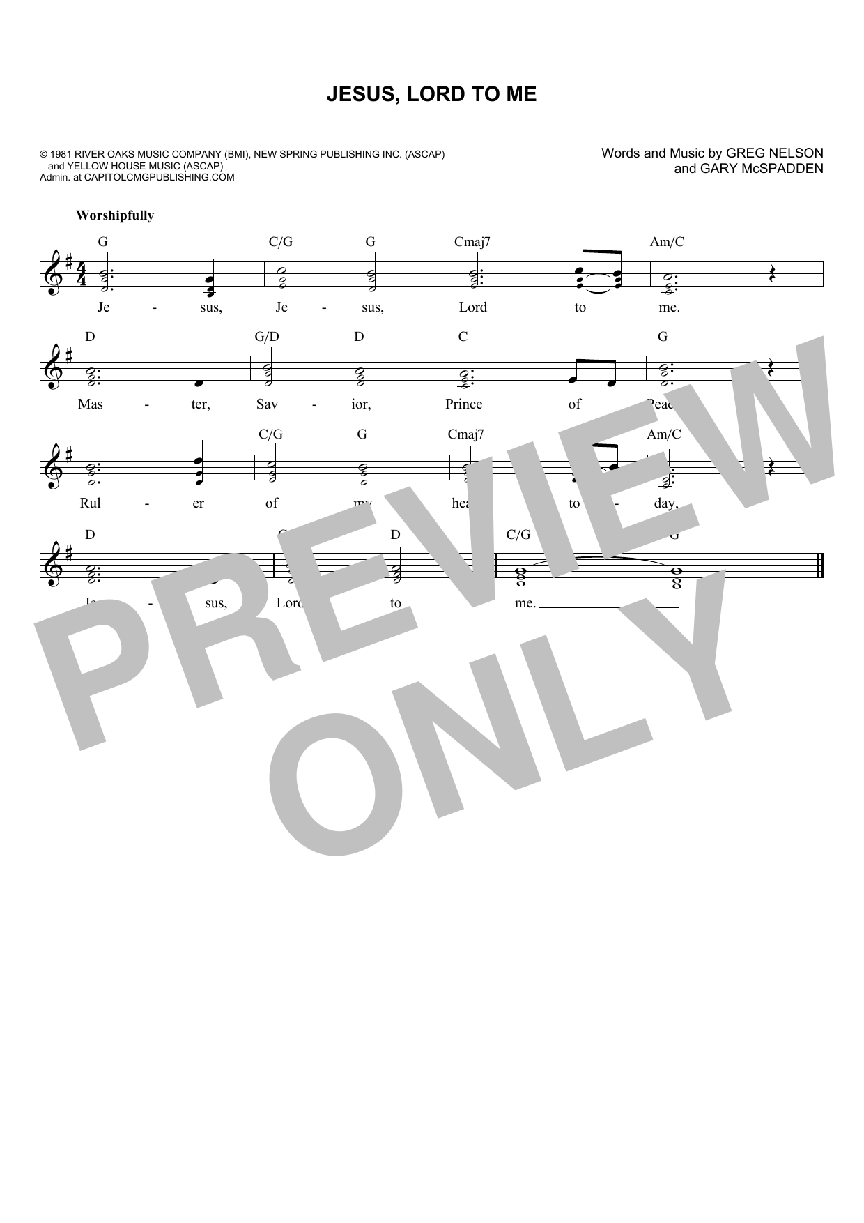 Gary McSpadden Jesus, Lord To Me sheet music notes and chords. Download Printable PDF.
