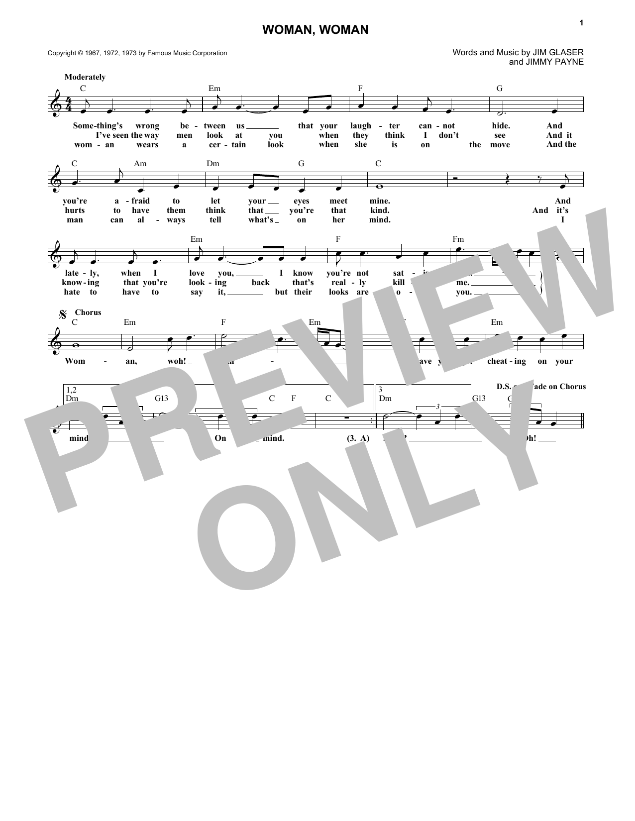 Gary Puckett & The Union Gap Woman, Woman sheet music notes and chords. Download Printable PDF.