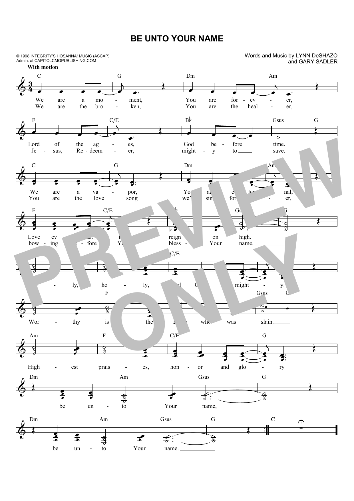 Gary Sadler Be Unto Your Name sheet music notes and chords. Download Printable PDF.