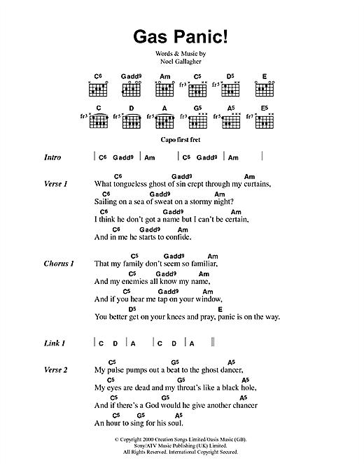 Oasis Gas Panic! sheet music notes printable PDF score