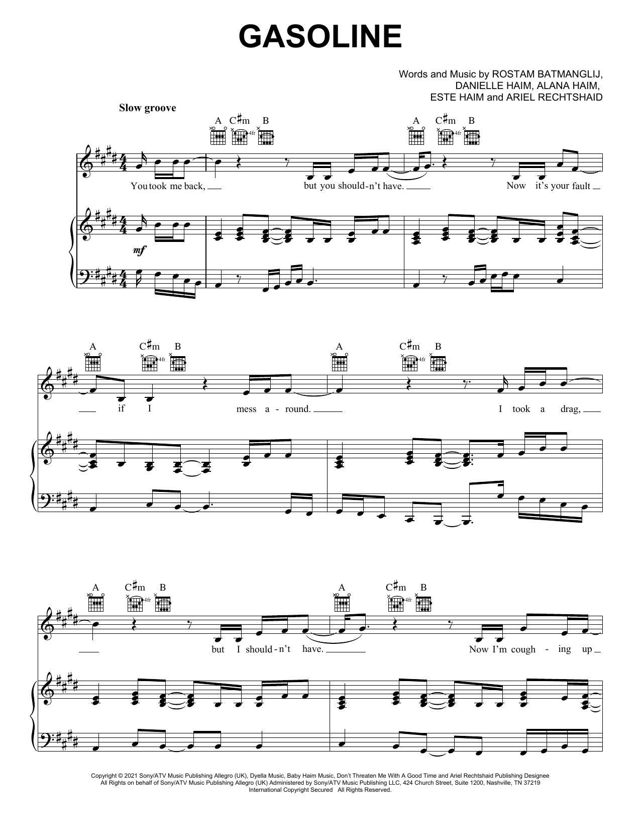 Haim Gasoline (feat. Taylor Swift) sheet music notes printable PDF score
