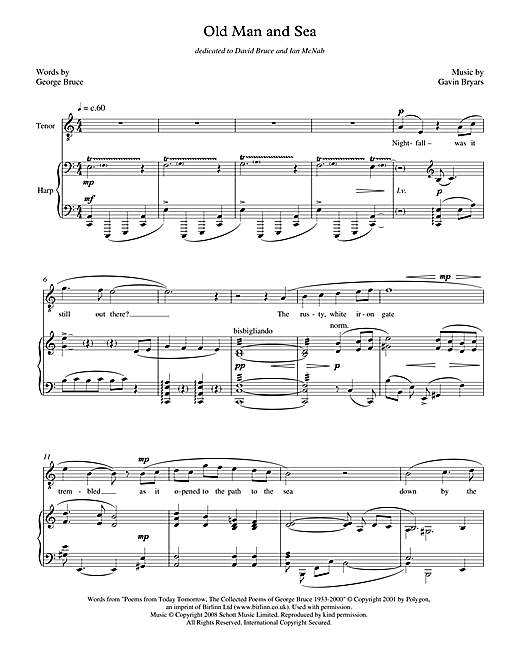 Gavin Bryars Old Man and Sea (for tenor & harp) sheet music notes printable PDF score
