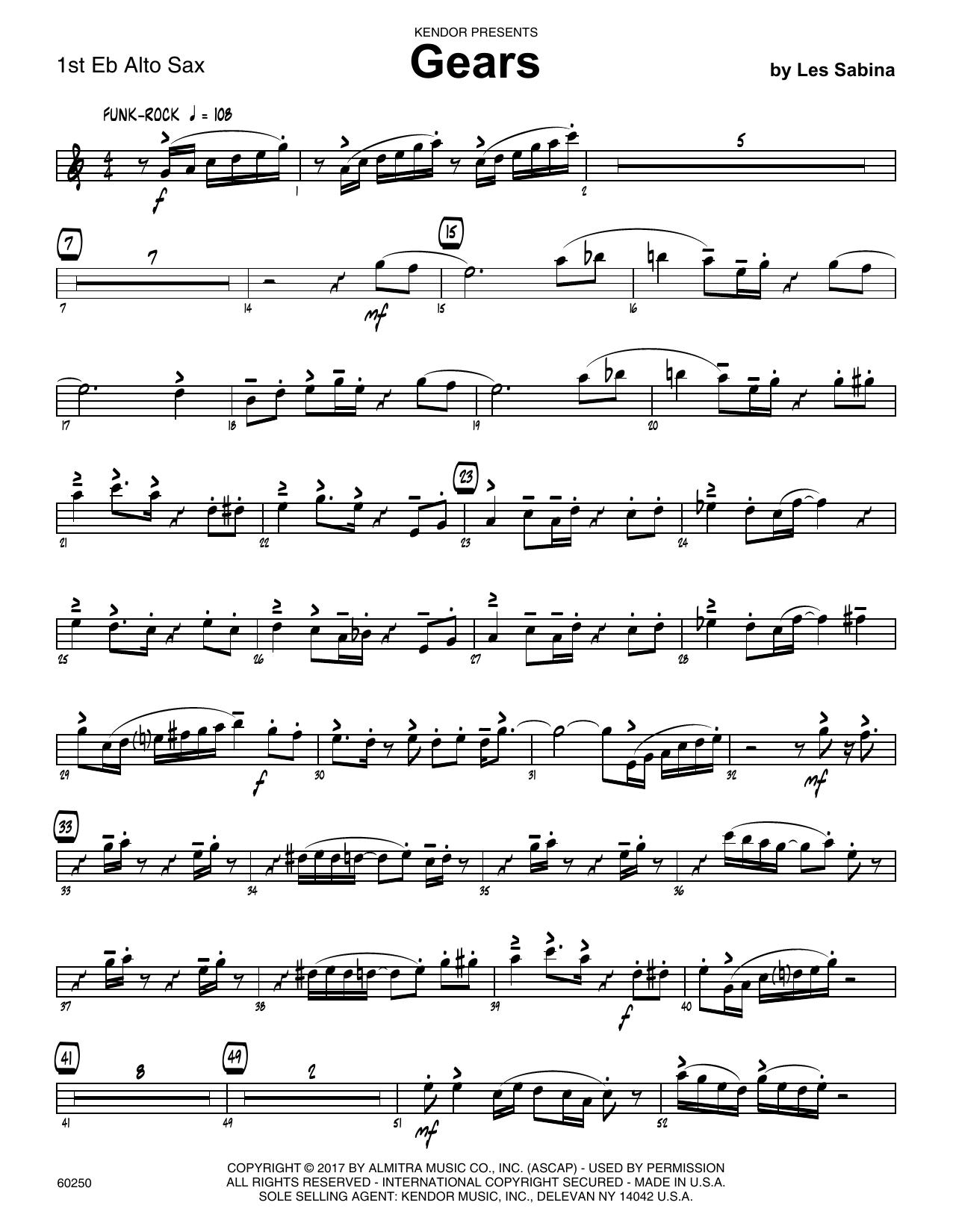 Les Sabina Gears - 1st Eb Alto Saxophone sheet music notes printable PDF score