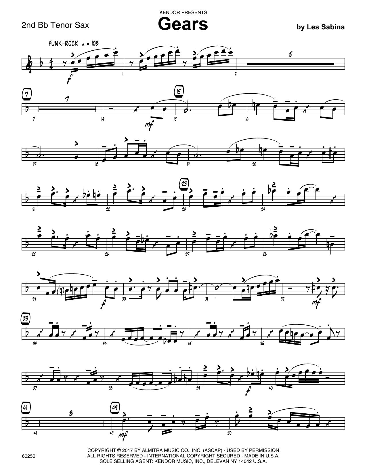 Les Sabina Gears - 2nd Bb Tenor Saxophone sheet music notes printable PDF score