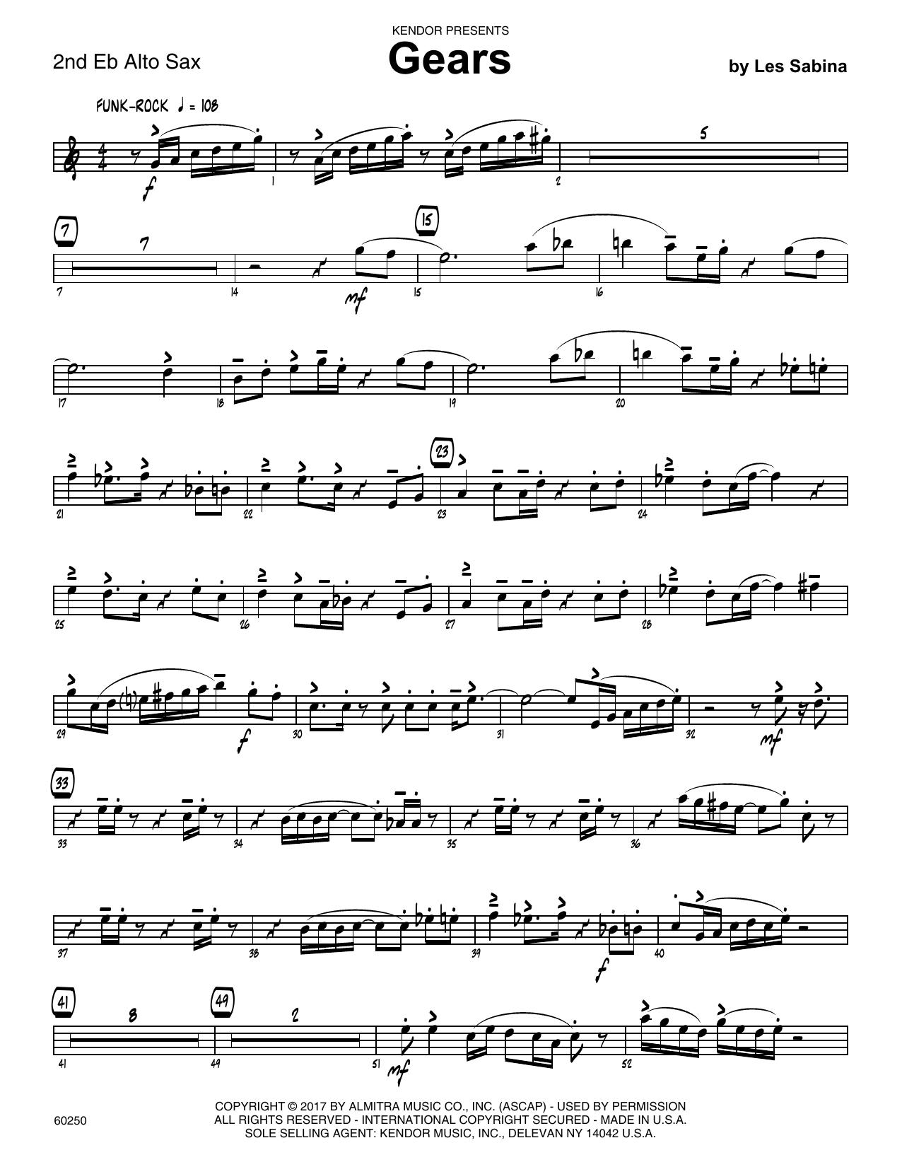 Les Sabina Gears - 2nd Eb Alto Saxophone sheet music notes printable PDF score