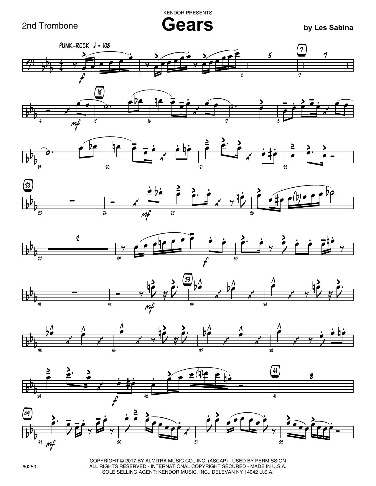 Les Sabina Gears - 2nd Trombone sheet music notes printable PDF score