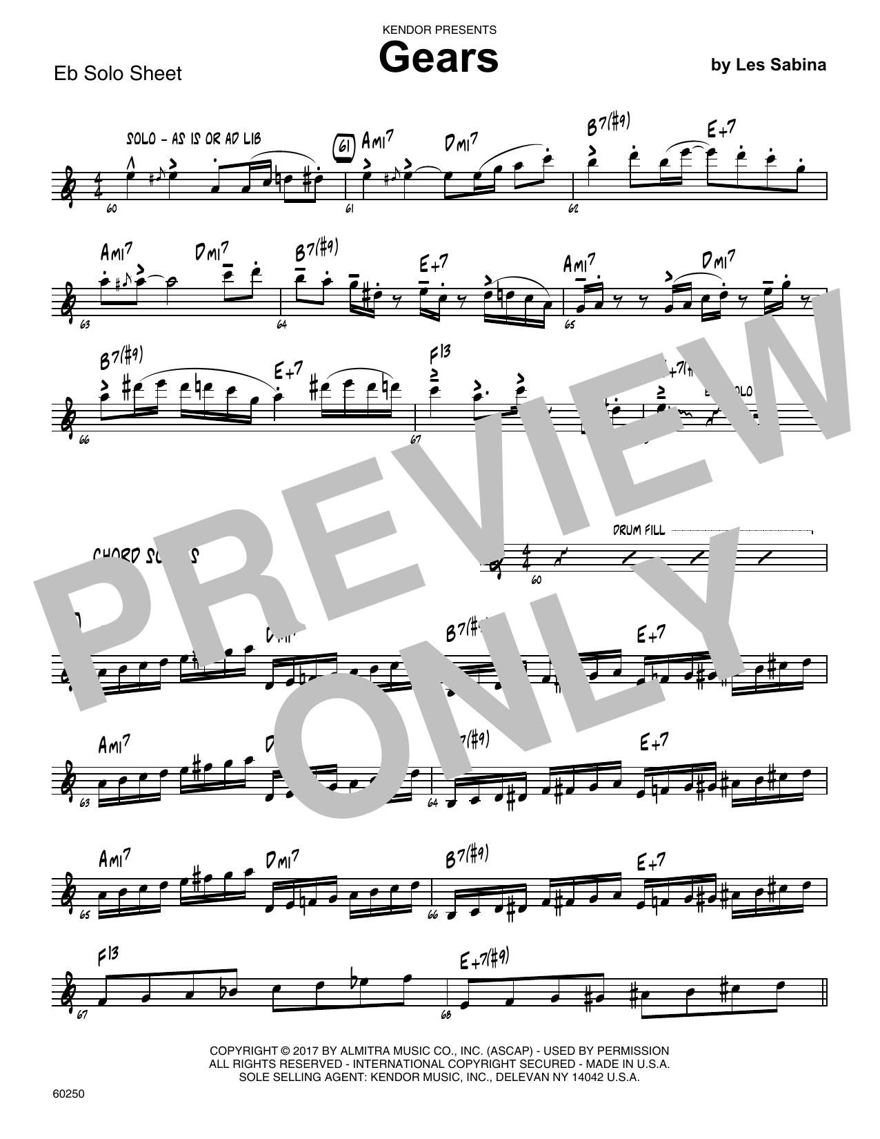 Les Sabina Gears - C Solo Sheet sheet music notes printable PDF score