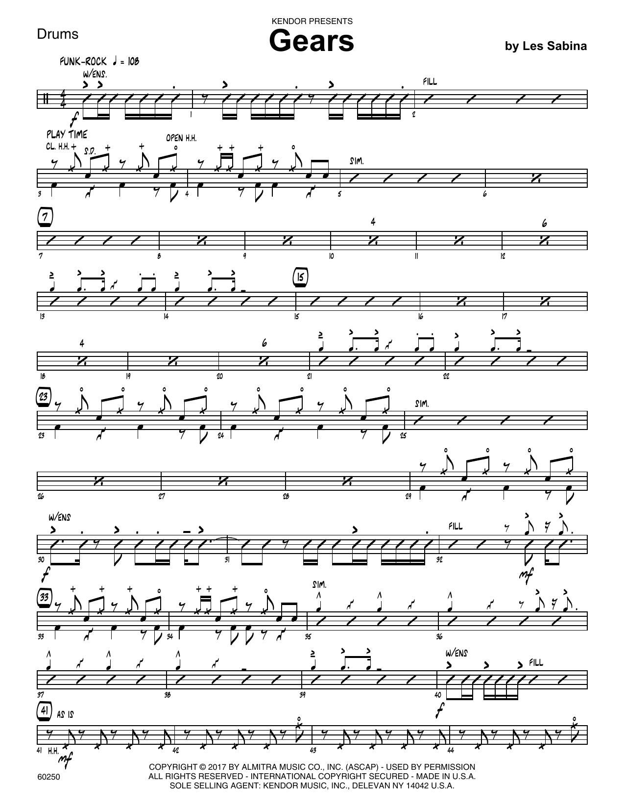 Les Sabina Gears - Drum Set sheet music notes printable PDF score