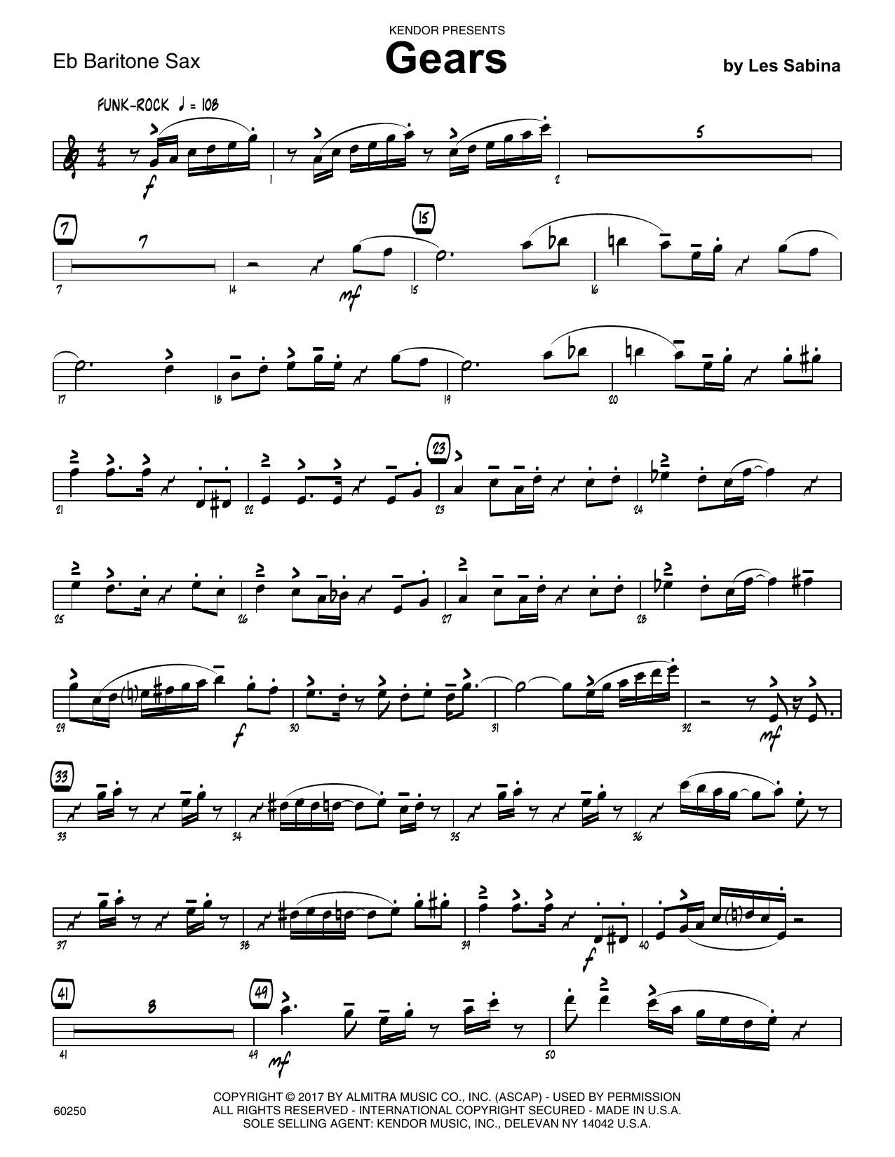 Les Sabina Gears - Eb Baritone Saxophone sheet music notes printable PDF score
