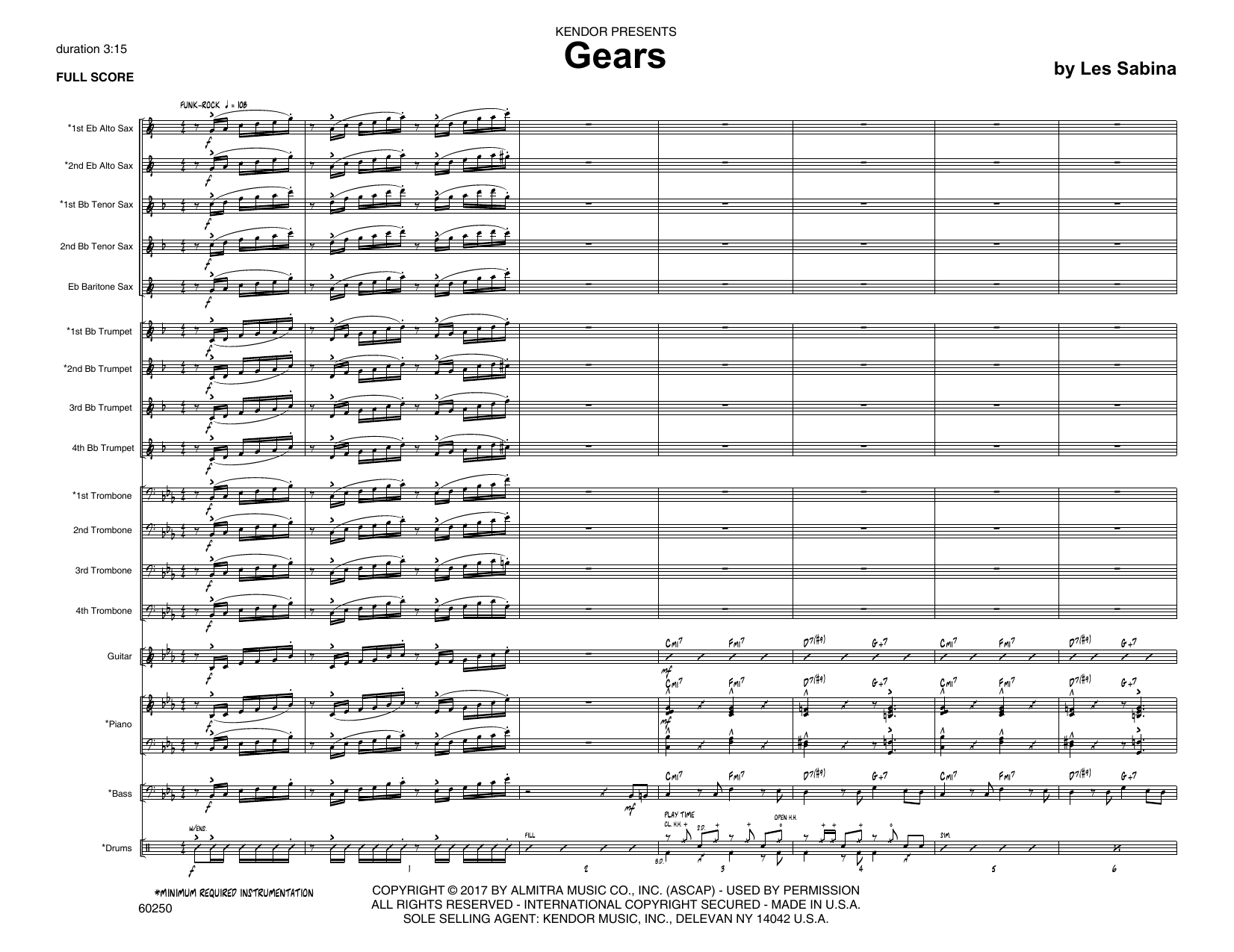Les Sabina Gears - Full Score sheet music notes printable PDF score