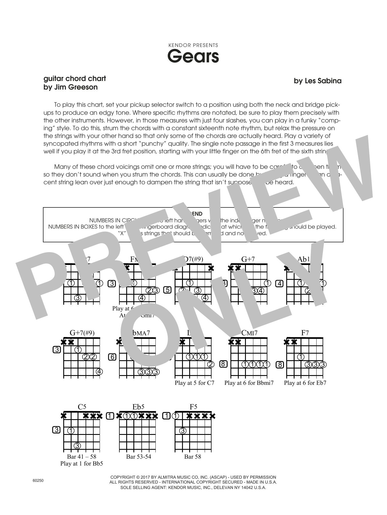 Les Sabina Gears - Guitar Chord Chart sheet music notes printable PDF score