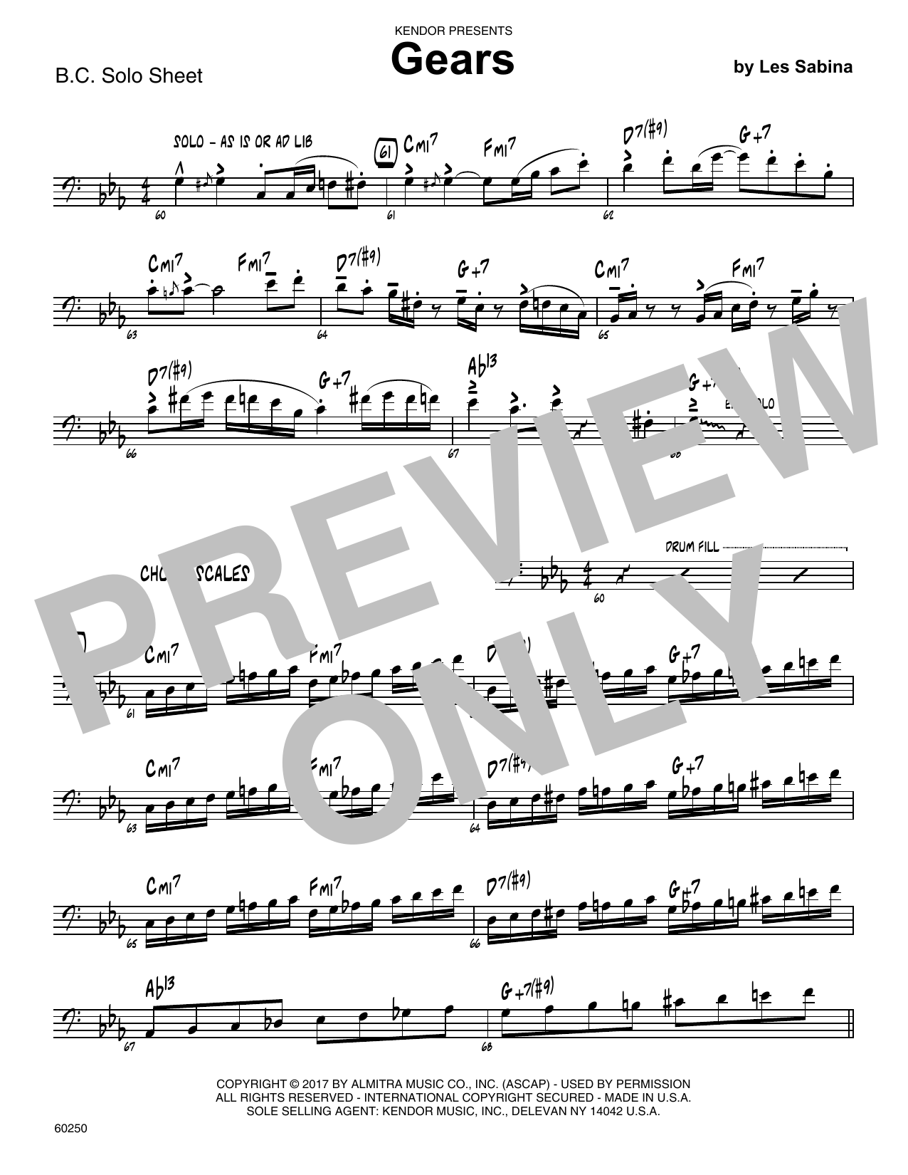 Les Sabina Gears - Sample Solo - Bass Clef Instr. sheet music notes printable PDF score