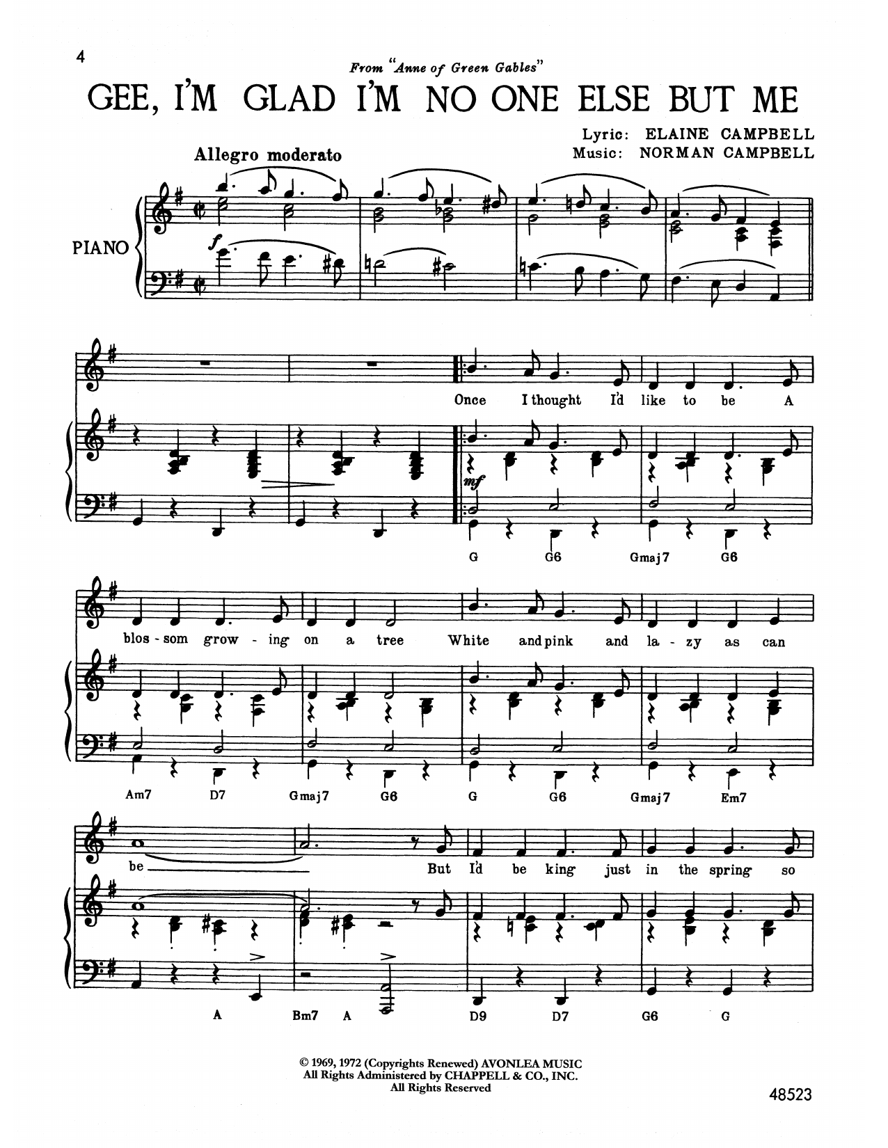 Norman Campbell Gee, I'm Glad I'm No One Else But Me (from Anne Of Green Gables) sheet music notes printable PDF score