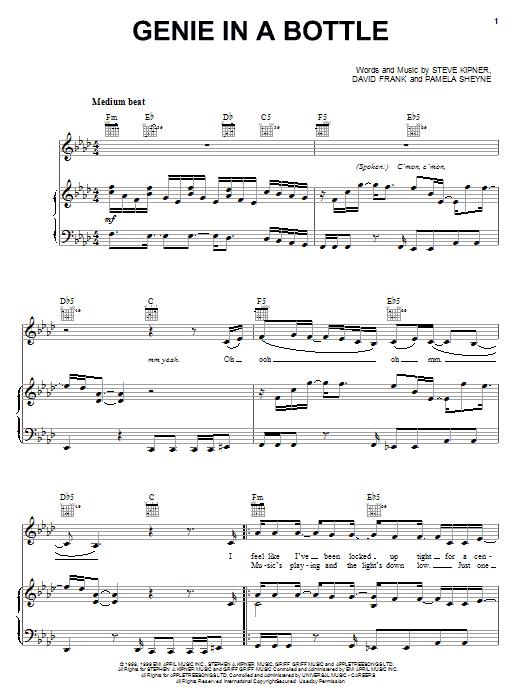 Christina Aguilera Genie In A Bottle sheet music notes printable PDF score