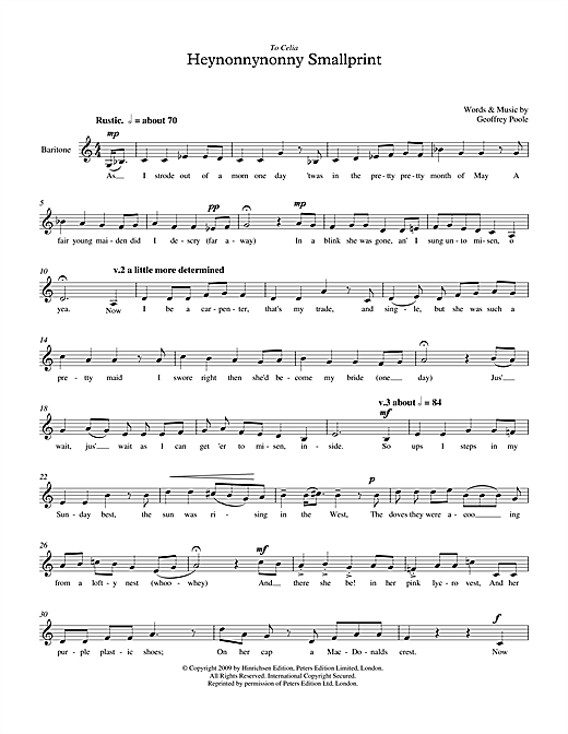Geoffrey Poole Heynonnynonny Smallprint (for baritone voice) sheet music notes printable PDF score