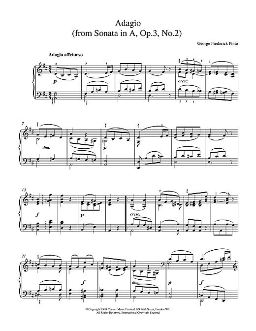 George Frederick Pinto Adagio Op.3 No.2 sheet music notes printable PDF score
