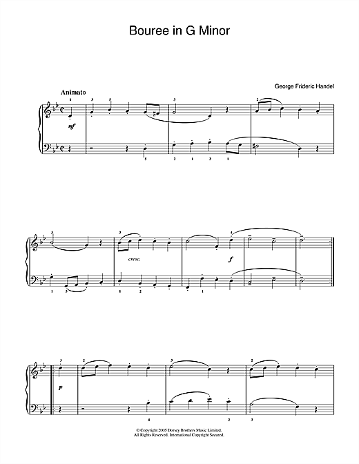 George Frideric Handel Bouree In G Minor sheet music notes printable PDF score