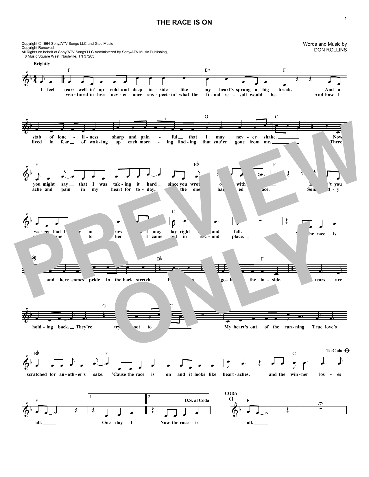 George Jones The Race Is On sheet music notes and chords - download printable PDF.