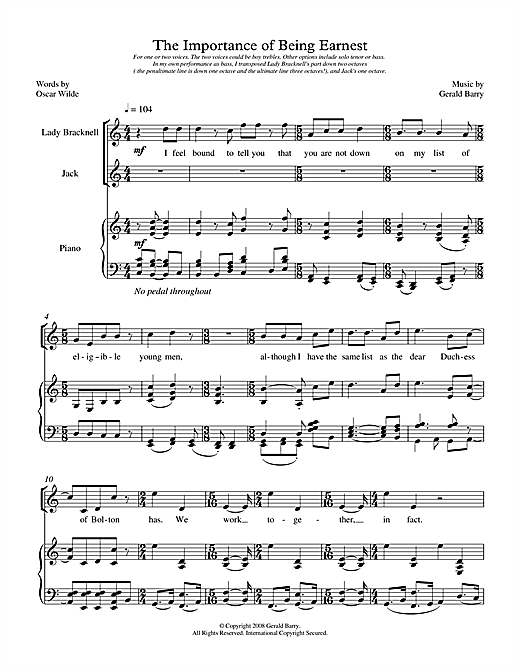 Gerald Barry The Importance of Being Earnest (for two voices) sheet music notes printable PDF score