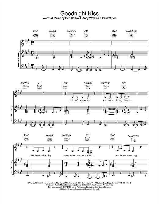 Geri Halliwell Goodnight Kiss sheet music notes printable PDF score