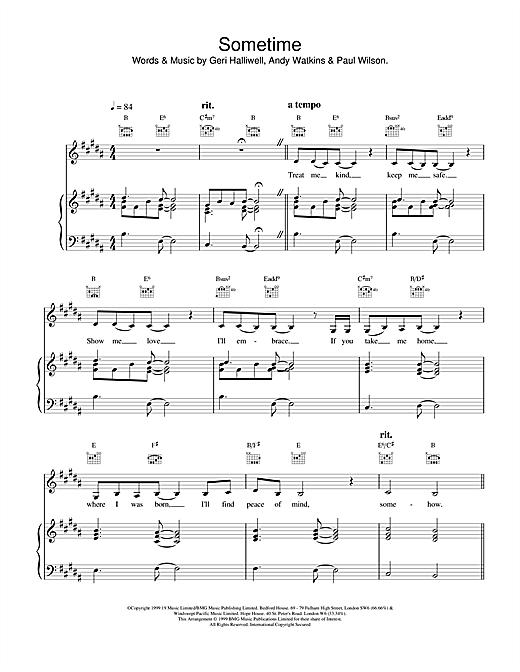 Geri Halliwell Sometime sheet music notes printable PDF score