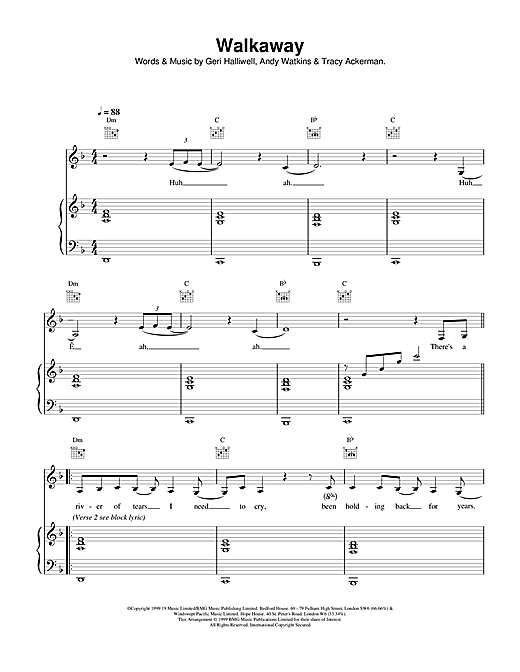 Geri Halliwell Walkaway sheet music notes printable PDF score