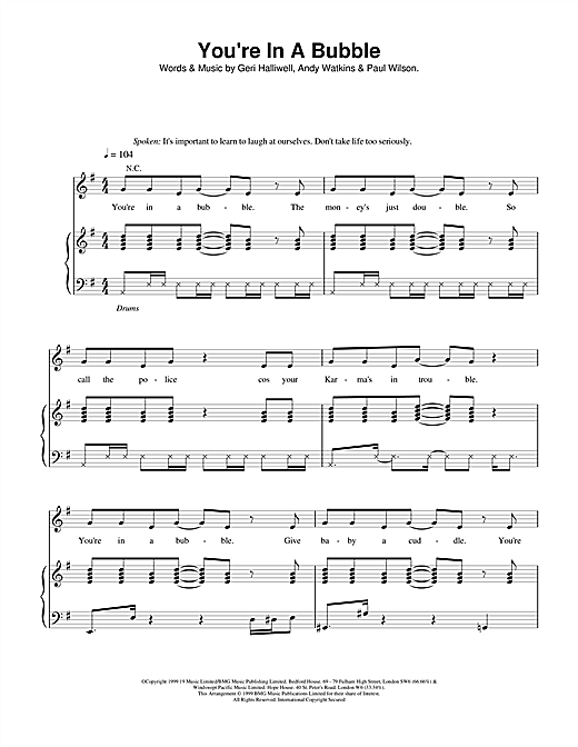 Geri Halliwell You're In A Bubble sheet music notes printable PDF score