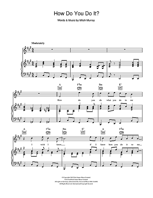Gerry And The Pacemakers How Do You Do It? sheet music notes and chords. Download Printable PDF.