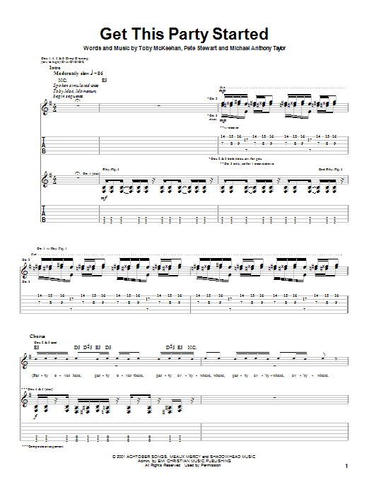 tobyMac Get This Party Started sheet music notes printable PDF score