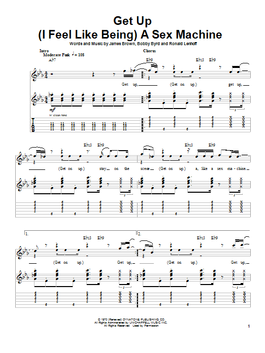 James Brown Get Up (I Feel Like Being) A Sex Machine sheet music notes printable PDF score
