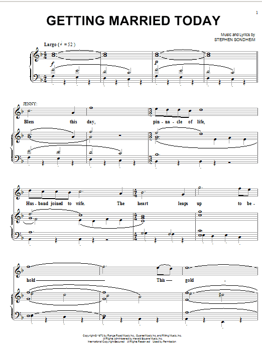 Stephen Sondheim Getting Married Today sheet music notes printable PDF score