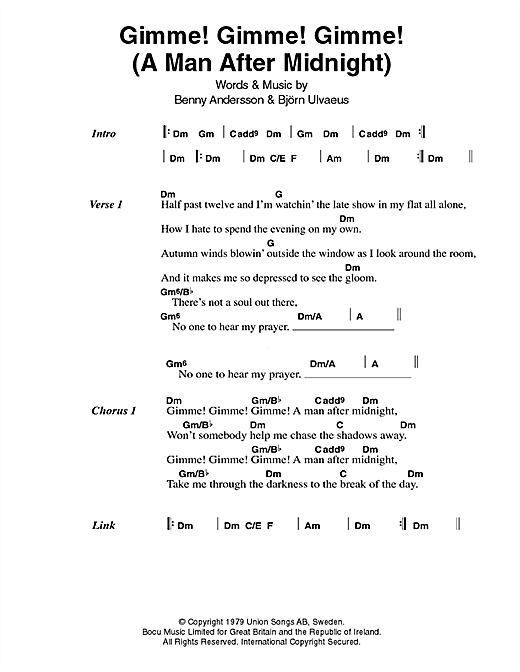 ABBA Gimme! Gimme! Gimme! (A Man After Midnight) sheet music notes printable PDF score